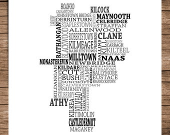 Kildare - Typographical Map of County Kildare, Ireland