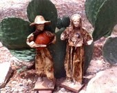 Vintage Mexican Paper Mache Figurines Set Of 2 Man And Woman Mexico Art Cartonería
