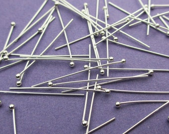 New 25mm 26 gauge 925 Sterling Silver Ball Ended Headpins 24pcs.