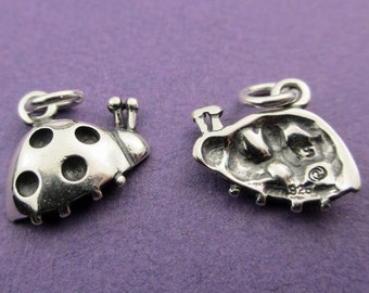 New 13.5mm x 11mm 925 Sterling Silver Ladybird Charm 1pc