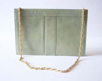 Vintage 1960's RAYNE Patent Dusty Mint Green Leather Shoulder and Clutch Handbag with Beige Suede Interior - Purse