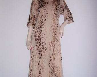 1960s 1970s Leonard Paris Léonard Silk Jersey Dress Animal Print