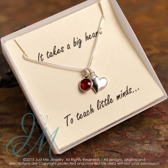 Teacher Gift - Sterling Silver Teacher Necklace with Birthstone- It takes a big heart to teach little minds