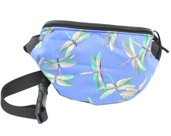 Fanny pack Periwinkle Dragonfly fabric - Cute  - Hip Waist Bag for travel, sport, and hiking