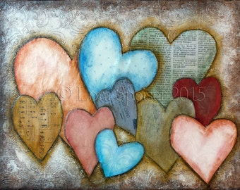 10 (Ten) Hearts Original Painting Mixed Media Oil Acrylic Pastel PaperTextured Collage Painting 11x14 inches Inspirational