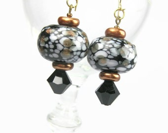 Black, White, And Copper Lampwork Dangle Earrings, Gold Filled