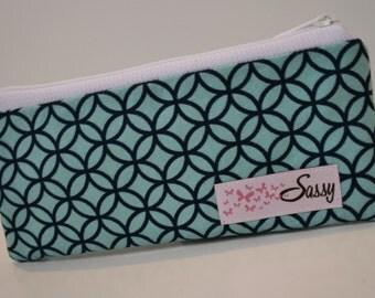 Blue Fabric Makeup Bag, Small Size Cosmetic Bag, Travel Make up Bag, Lined Makeup Bag
