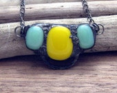 Fused Glass Trio in Yellow and Mint