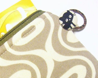 sale Cat small card wallet id1340556 zip coin purse, gift for cat lover, handmade, travel bag organizer, cardholder, coin purse