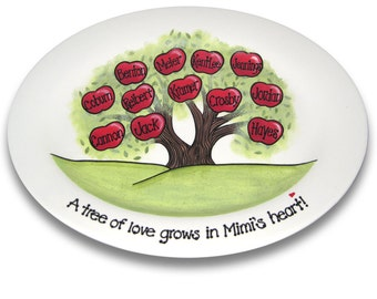 Family Tree Hand Painted Personalized Platter