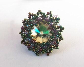 Swarovski Crystal Lavender and Green Beaded Ring