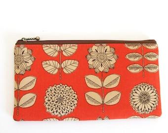 Flat zipper pouch - etching flower in orange