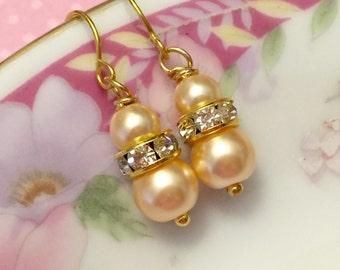 Pearl Wedding Earrings, Flower Girl Earrings, Pearl and Rhinestone Earrings, Bridesmaid Gift Earrings, Simple Earrings, KreatedByKelly