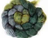 Handdyed Wensleydale Wool Roving - The Wood - green, grey, teal, olive, forest