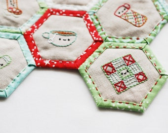 Winter Stitching Club - Embroidery Patterns and Quilted Hexagon Table Mat Project