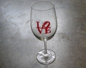 LOVE hand painted chardonnay wine glasses set of 4
