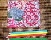 "Blue Lotus Fabric 5x6"" Postcard - One of a kind - Fuschia Batik"