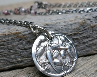Asclepias Syriaca botanical garden necklace ... recycled fine silver milkweed pendant