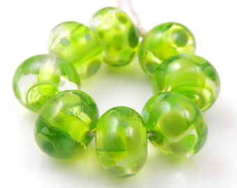 Absinthe Minded Swirls - Handmade Artisan Lampwork Glass Beads 8mmx12mm - Lime Green - SRA (Set of 8 Beads)