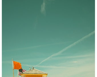 Fine Art Photograph - Beach Photography - Nature Photography - Yellow Flag 1 - Florida Art - Lifeguard - Blue Sky - Summer Print-  Fine Art