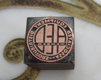 Vintage Letterpress Printers Block Associated Equipment Distributors Emblem