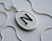 RESERVED Letter N Personalized Hand Embroidered Pendant