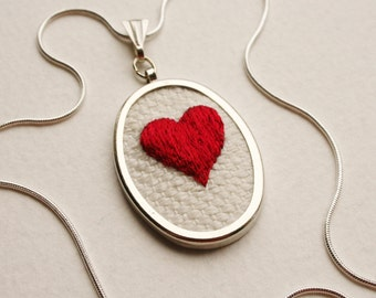 Valentine Hand Embroidered Red Heart Necklace Hand Stitched