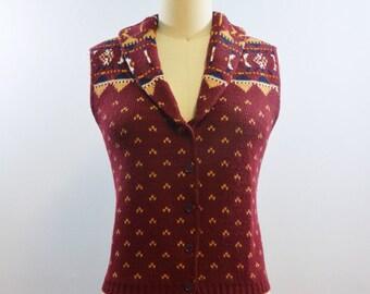 Marsala Fair Isle Sweater Vest | Vintage 70s 80s Vest