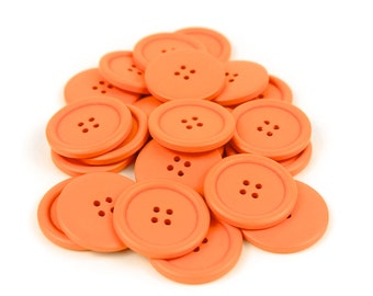 10 Large Orange Wood Buttons 4cm 40mm 1.625 inches - 4 holes Big Jumbo