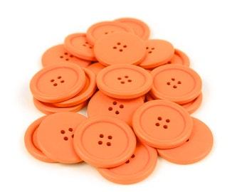 10 Large Orange Wood Buttons 4cm 40mm 1.625 inches - 4 holes Big Jumbo