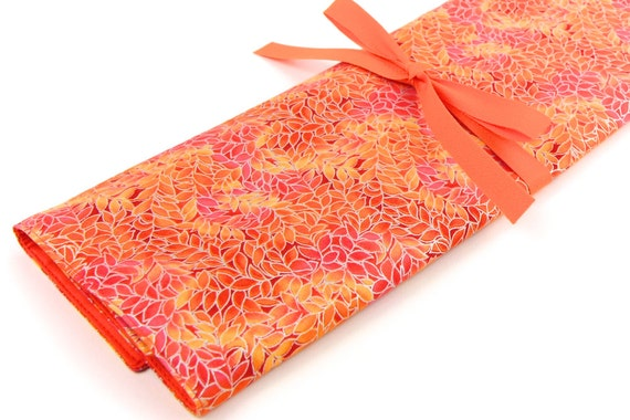 Knitting Needle Case - Mandarin - IN STOCK Large Organizer 30 orange pockets for straights, circulars, dpns and notions
