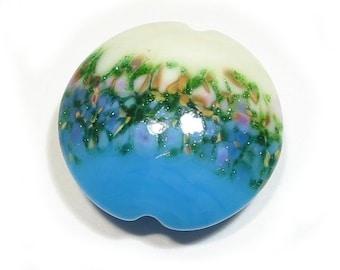 Turquoise Flower Garden  Jumbo Lentil Handmade Glass Lampwork Bead