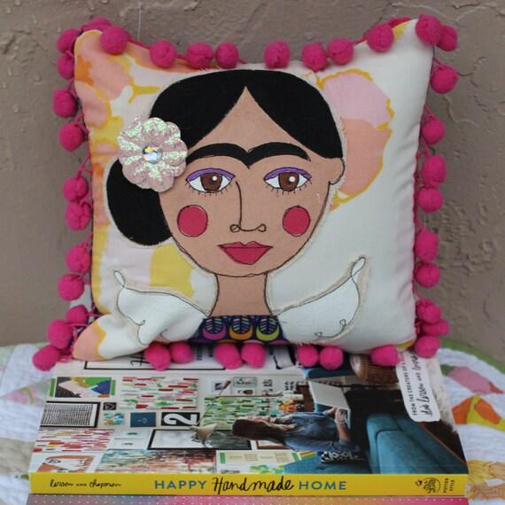 Frida Kahlo, pillow, handpainted, mixed-media, free motion