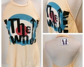 The who, vintage who t shirt, concert t shirt, rock n roll t shirt, t shirt halter, repurposed t shirt, reconstructed t shirt, upcycled