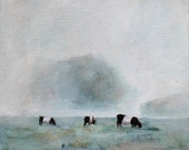 Cows painting - print of original oil painting 8 1/2 x 11 Belted cows art print