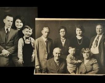 Two Vintage family photos, black and white photos.
