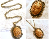 Elegant Flower Necklace, Antique Bronze Finish, Floral Jewelry, Polymer Clay in Bezel on Vintage Style Chain
