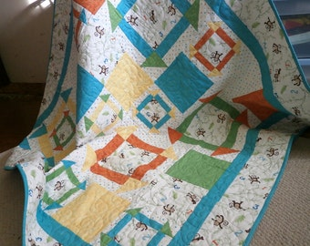 Baby Quilt - Primary colors - Churn Dash - Monkey Wrench - Original Design - Nursery Decor - Monkey Around - Baby Boy Quilt - lap quilt
