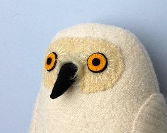 Snowy owl wool doll plush softie