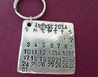 Personalized Key Chain Personalized Calendar Save the Date Calendar Couples Keychain Wedding Day Anniversary Mark the Day