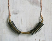 Rayas Necklace / Black and Brass / African Vinyl Bead / Gift
