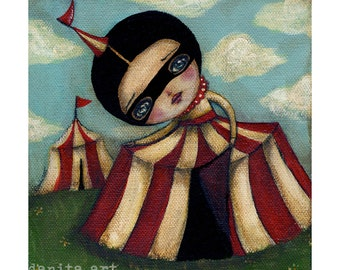 The discovery - a surreal print reproduction of a sensual and mysterious carnival circus mixed media painting by Danita Art