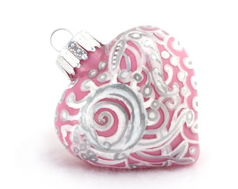 Valentines Day Gift - Pink Zentangle Glass Heart Handpainted Inside and Outside Ornament Keepsake - OOAK Art Pieces - Silver White