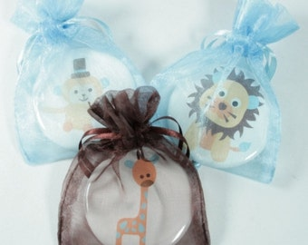 Personalized BABY boy or girl SHOWER FAVORS - 30 Assorted Safari Baby Shower Favors, Lions, Monkeys and Giraffes