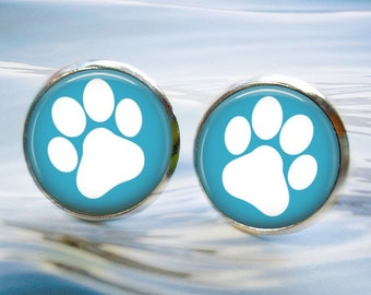 Paw Print Earrings - Choice of Color - Button Stud or Leverback Earrings - Silver Finish