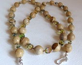 Silver Flake Jasper Necklace with Glass Beads and Sterling Silver, Smokeylady54