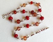 Necklace with Quartz Garnets LampworkBeads and Sterling Silver, Reds, Statteam