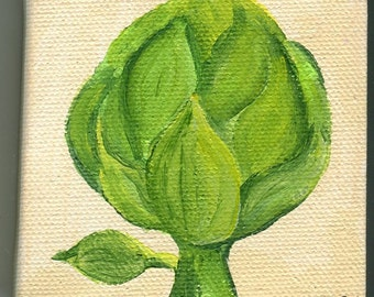 Artichoke mini painting on canvas original, kitchen decor, wall art, illustration, original acrylics painting of artichoke, artichoke art
