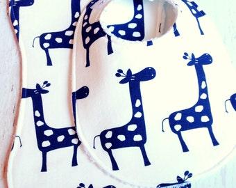 Baby Bib & Burp Cloth Set  -  Super Absorbent Chenille - Triple Layer Design  -  Gender Neutral   -  Navy Blue and White Giraffe