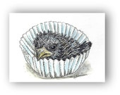 Crow Art Cupcake Print ACEO Print baby Raven Blackbird art pen and ink black and white home decor empty cupcake wrapper